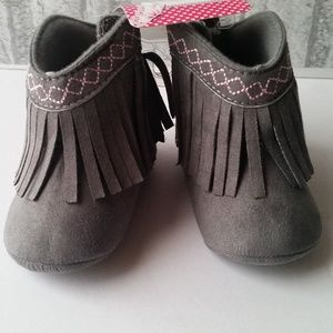 Baby Fringe Moccasin Fabric Boots